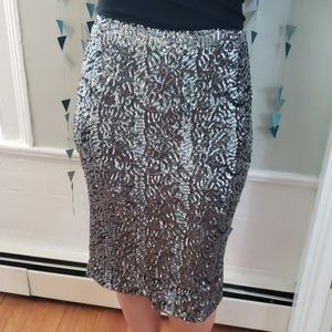 Sequenced black and silver pencil skirt